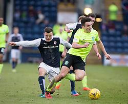 Hibernian's John McGinn brought down by Raith Rovers Ross Matthews. Raith Rovers 1 v 1 Hibernian, Scottish Championship game played 18/2/2017 at Starks Park.