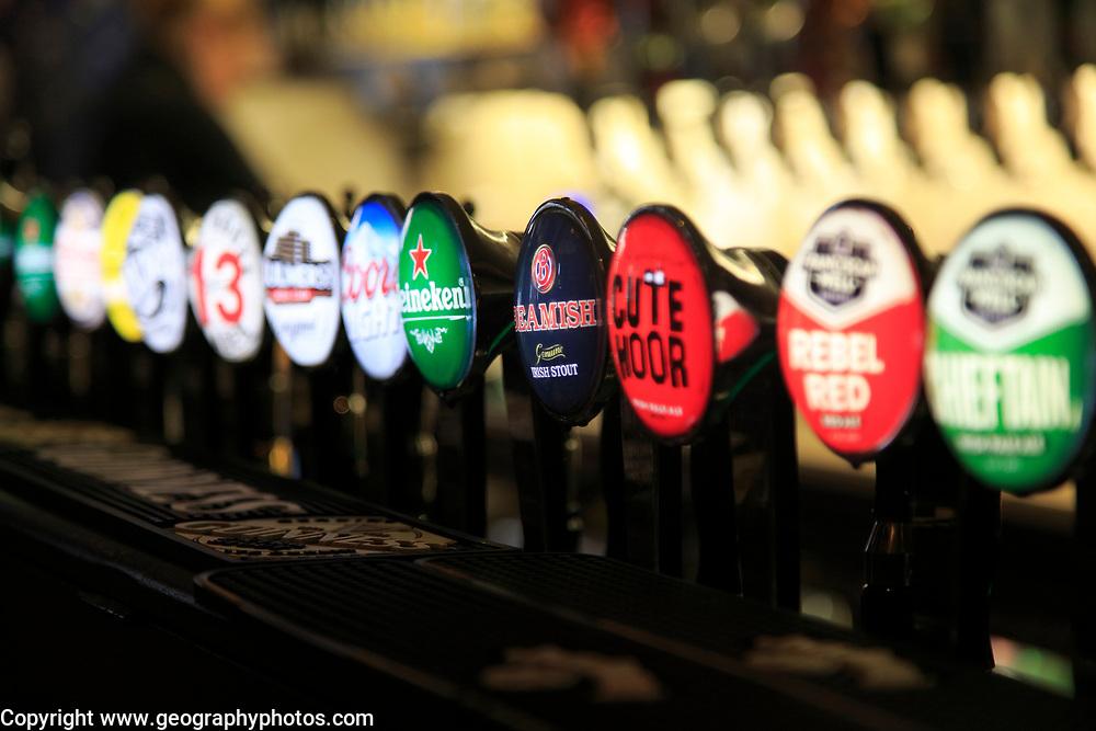 Selection of beer on display, J Grogan pub, South William Street, city of Dublin, Ireland, Irish Republic