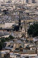 France. Paris. elevated view. La gare du Nord and paris roofs,   view from Saint Paul's  Saint Vincent. church 75009