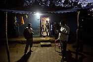 Light which is generated by solar power provided by SELCO's system is used in one of the houses in Paradeshappanamatha, Karnataka, India on Dec 23, 2015 (Photo by Kuni Takahashi)
