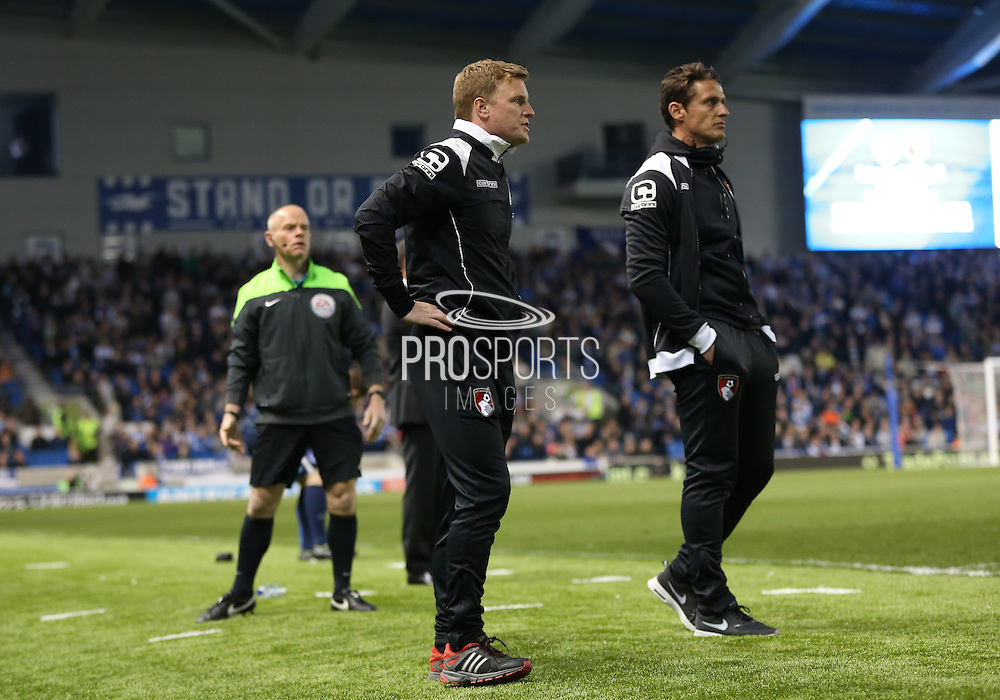 AFC Bournemouth first team manager Eddie Howe during the Sky Bet Championship match between Brighton and Hove Albion and Bournemouth at the American Express Community Stadium, Brighton and Hove, England on 10 April 2015.