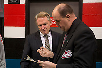 KELOWNA, CANADA - APRIL 14: Portland Winterhawks' head coach Mike Johnson goes over the roster with WHL official Lorne Craig at the Kelowna Rockets on April 14, 2017 at Prospera Place in Kelowna, British Columbia, Canada.  (Photo by Marissa Baecker/Shoot the Breeze)  *** Local Caption ***
