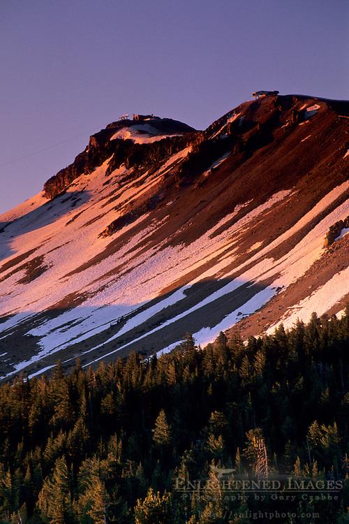 Sunrise light on Mammoth Peak, from Minaret Summit Mono County, Eastern Sierra, CALIFORNIA