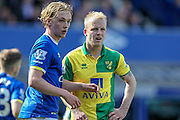 Steven Naismith (Norwich City) waits for the Norwich corner to come in during the Barclays Premier League match between Everton and Norwich City at Goodison Park, Liverpool, England on 15 May 2016. Photo by Mark P Doherty.