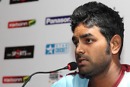Kandurata Maroons captain Lahiru Thirimanne during the Kandurata Maroons team arrival press conference prior to the start of the Karbonn Smart CLT20 2013 held at the JW Marriott Hotel in Mohali on the 15th September 2013<br /> <br /> Photo by Shaun Roy-CLT20-SPORTZPICS <br /> <br /> Use of this image is subject to the terms and conditions as outlined by the BCCI. These terms can be found by following this link:<br /> <br /> http://www.sportzpics.co.za/image/I0000SoRagM2cIEc
