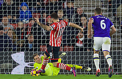 SOUTHAMPTON, ENGLAND - Saturday, November 19, 2016: Everton's goalkeeper Maarten Stekelenburg makes a save against Southampton's Charlie Austin during the FA Premier League match at St. Mary's Stadium. (Pic by David Rawcliffe/Propaganda)