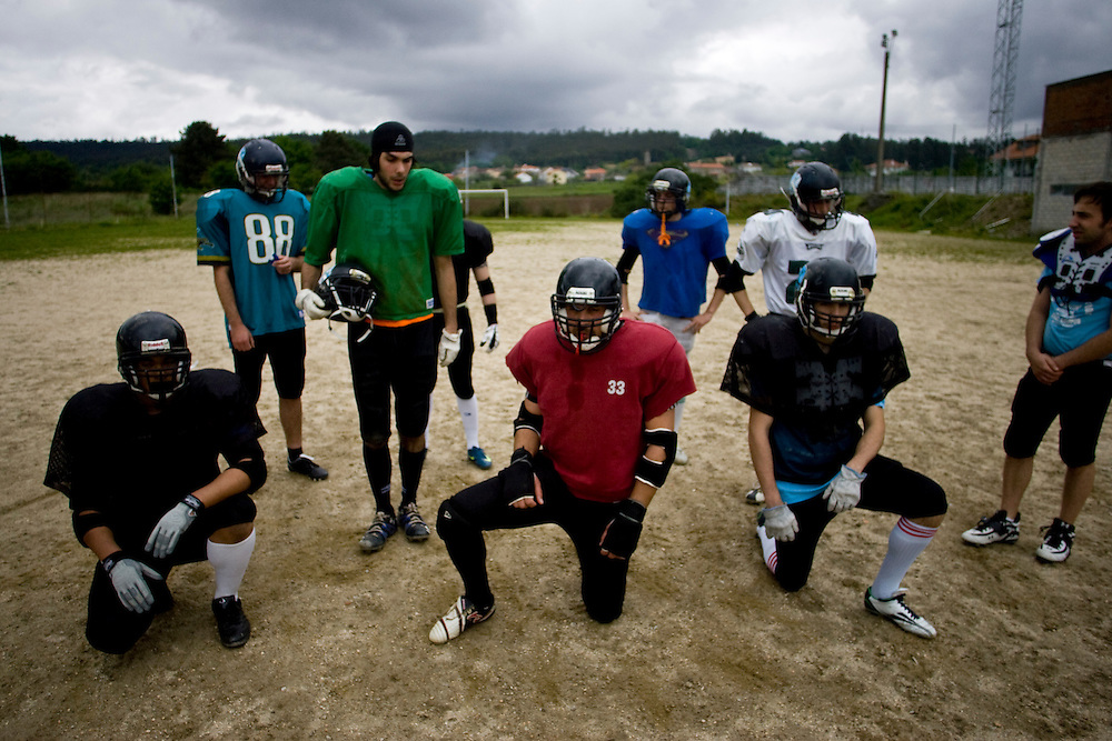 (Santiago de Compostela, Spain - May 1, 2010) -The Galicia Black Towers practice on their dirt field on Saturday morning outside Santiago de Compostela. The team gets the practice field, which often floods when it rains, for free from the local government. ..Photo by Will Nunnally / Will Nunnally Photography