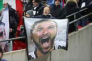 Juventus fans with Juventus striker Gonzalo Higuain (9) flag during the Champions League match between Tottenham Hotspur and Juventus FC at Wembley Stadium, London, England on 7 March 2018. Picture by Matthew Redman.