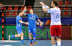 David Razgor and Jaka Malus of Celje PL during handball match between Meshkov Brest and RK Celje Pivovarna Lasko in bronze medal match of SEHA- Gazprom League Final 4, on April 15, 2018 in Skopje, Macedonia. Photo by  Sportida