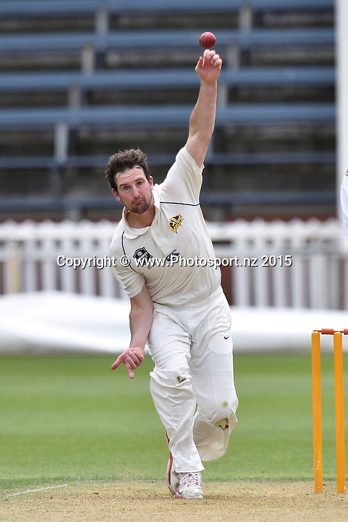 Bradley Scott of the Volts bowls during the Plunket Shield cricket match -between the Wellington Firebirds and Otago Volts on Thursday 17 December 2015 at the Basin Reserve, Wellington. Copyright Photo: Marty Melville  / www.photosport.nz