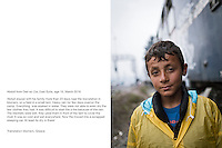 Greece, Idomeni, <br /> Abdull, age 10, from Deir ez-Zor, east Syria<br /> Abdull stayed with his family more than 23 days near the trainstation in Idomeni, on a field in a small tent. Heavy rain for few days overrun the camp. Everything  was soaked in water. They were not able to even dry the few clothes they had. It was difficult to start the a fire because of the rain. The blankets were wet, they used them in front of the tent to cover the mud. It was so cold and wet everywhere. Now the moved into a scrapped sleeping car. At least its dry in there!<br /> <br /> Idomeni, is the eye of a needle for getting to nothern Europe. <br /> The FYROM authorities, closed the border from Greece completely the situation close to the border gets more and more difficult. The refugees have to sleep outside or in small tents. UNHCR and Medicins sans Frontieres work hard to help them. Refugees at the Greek-FYROM border in Idomeni.  There is not enough food and supplies to help about 12.000 refugees<br /> <br /> <br /> keine Veroeffentlichung unter 50 Euro*** Bitte auf moegliche weitere Vermerke achten***Maximale Online-Nutzungsdauer: 12 Monate !!