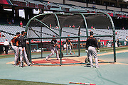 ANAHEIM, CA - MAY 4:  the Baltimore Orioles take batting practice before the game against the Los Angeles Angels of Anaheim on Saturday, May 4, 2013 at Angel Stadium in Anaheim, California. The Orioles won the game 5-4 in ten innings. (Photo by Paul Spinelli/MLB Photos via Getty Images)