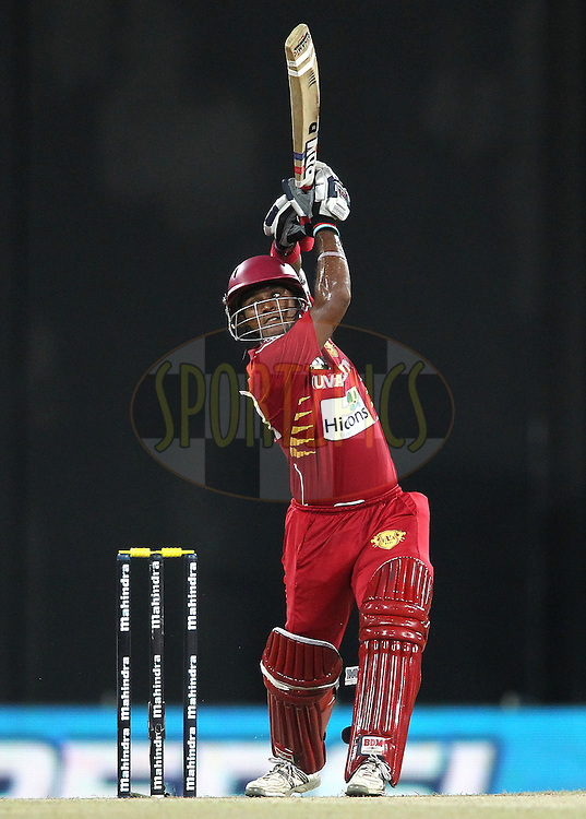 Dilshan Munaweera of Uva Next hits over the top to the boundary during the first Semi Final Match of the Sri Lankan Premier League between Uva Next and Wayamba United held at the Premadasa Stadium in Colombo, Sri Lanka on the 28th August 2012. .Photo by Shaun Roy/SPORTZPICS/SLPL