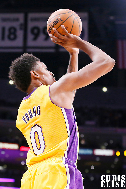 14 January 2014: Los Angeles Lakers small forward Nick Young (0) takes a jumpshot during the Cleveland Cavaliers 120-118 victory over the Los Angeles Lakers at the Staples Center, Los Angeles, California, USA.