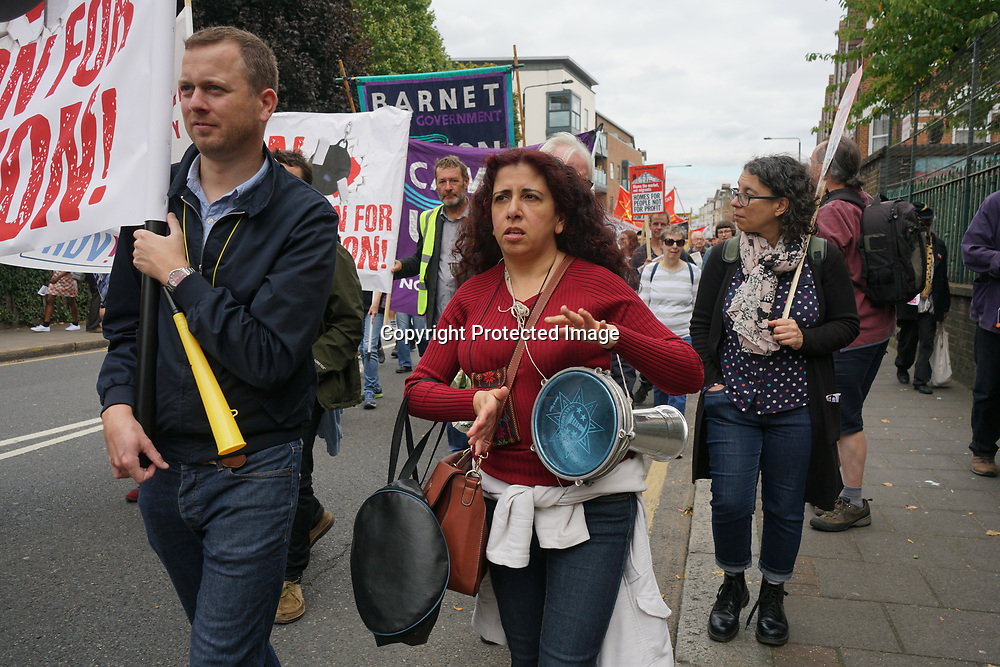 Harringay, London, England, UK. 23rd September 2017. Hundreds and march & protest fighting for Social Housing Not Social Cleansing against council sold out Social Housing of £2 billion to HDV demolition and could be affected thousand of a family could become homelessness with no grantee of rehousing dumbing them to the Channel Islands with no family or friends supports.
