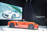 New York, NY, USA-23 March 2016. Porsche's latest introduction, the 718 Boxster S. The car has a top track speed of 177mph.