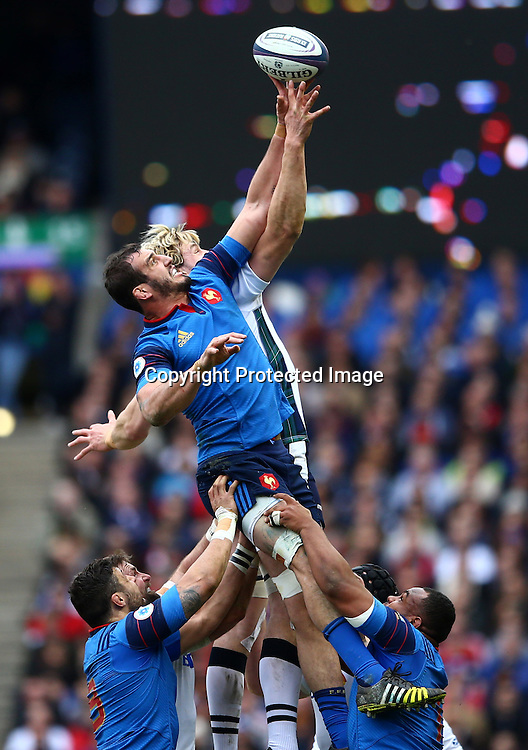RBS 6 Nations Championship Round 4, BT Murrayfield, Edinburgh, Scotland 13/3/2016<br /> Scotland vs France<br /> Scotland's Richie Gray and Yoann Maestri of France<br /> Mandatory Credit &copy;INPHO/James Crombie