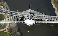 Images from a helicopter tour of The Canadian Museum for Human Rights at The Forks, the Esplanade Riel, Provencher Bridge, The Red River, St.Boniface, October, 2011.