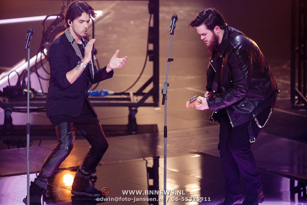 NLD/Hilversum/20160129 - Finale The Voice of Holland 2016, Dave Vermeulen en Waylon