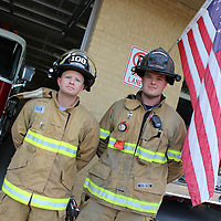 RAY VAN DUSEN/BUY AT PHOTOS.MONROECOUNTYJOURNAL.COM<br /> Amory/Hatley firefighter Dave Johnson, left, and Splunge Volunteer Fire Department Chief Mitch Minga tied for the Monroe Journal's firefighter of the year title.