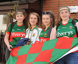 Jade McDonnell, Orla and Rebecca McManamon and Tara Doocey Mayo supporters from Belmellut<br /> on their way to the Croke park for the All Ireland quarter final replay<br /> Pic Conor McKeown