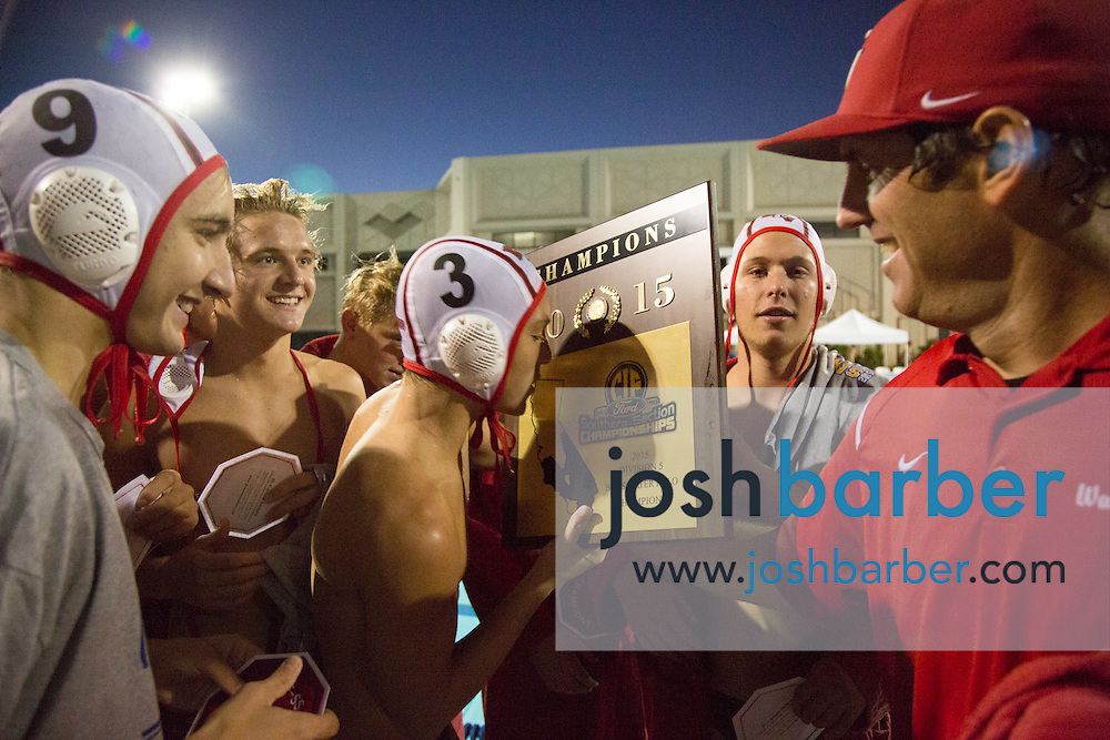 Redlands East Valley's Christian Solis (3) during the CIF-SS Division 5 Boy's Water Polo Final at Woollett Aquatic Center on Saturday, November 21, 2015 in Irvine, California. (Photo/Josh Barber)