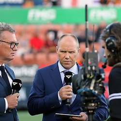 Sky Tv team John Kirwan and Jeff Wilson during the Investec Super  Rugby match between the Chiefs and Blues at FMG Waikato Stadium in Hamilton, New Zealand on Friday 3 March 2017. Photo: Dion Mellow / lintottphoto.co.nz