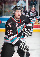 KELOWNA, CANADA - SEPTEMBER 25: Cole Linaker #26 of Kelowna Rockets warms up against the Kamloops Blazers on September 25, 2015 at Prospera Place in Kelowna, British Columbia, Canada.  (Photo by Marissa Baecker/Shoot the Breeze)  *** Local Caption *** Cole Linaker;