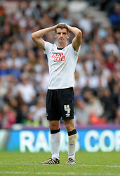 Derby County's Craig Bryson cuts a dejected figure at the end of the game as Derby lose their 1 - 0 lead as the game finished 1 - 1 - Photo mandatory by-line: Dougie Allward/JMP - Mobile: 07966 386802 30/08/2014 - SPORT - FOOTBALL - Derby - iPro Stadium - Derby County v Ipswich Town - Sky Bet Championship