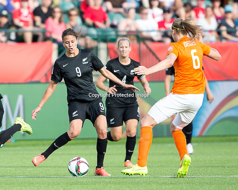 Amber Hearn. Edmonton, Alberta, Canada, June 6, 2015.  The opening day of the Women's World Cup at Commonwealth Stadium.  New Zealand was defeated by Netherlands 1-0.