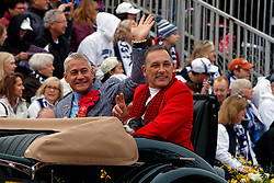 Greg Louganis and his husband Johnny Chaillot on the parade route of the 2017 Tournament of Roses Parade, Rose Parade, Pasadena, California, United States of America