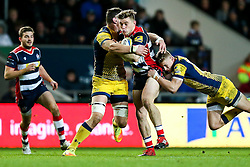 Jason Woodward of Bristol Rugby is tackled by Phil Dowson of Worcester Warriors - Rogan Thomson/JMP - 26/12/2016 - RUGBY UNION - Ashton Gate Stadium - Bristol, England - Bristol Rugby v Worcester Warriors - Aviva Premiership Boxing Day Clash.