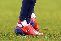 The boots of Michy Batshuayi of Crystal Palace with the Batman logo on them - Mandatory by-line: Robbie Stephenson/JMP - 17/02/2019 - FOOTBALL - The Keepmoat Stadium - Doncaster, England - Doncaster Rovers v Crystal Palace - Emirates FA Cup fifth round proper