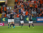 August 9th 2017, Dens Park, Dundee, Scotland; Scottish League Cup Second Round; Dundee versus Dundee United; Dundee's Paul McGowan taunts the Dundee United fans after scoring the winning goal