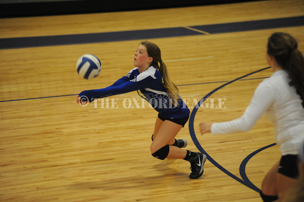 Oxford's Gray Duperier plays against Clarksdale in girls junior varsity high school volleyball action in Oxford, Miss. on Tuesday, September 16, 2014. Oxford won 25-9, 25-0.
