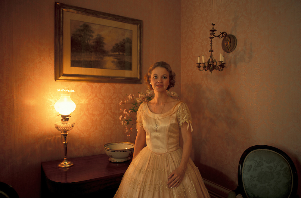 Woman in Antebellum Costume, Elms Court, Natchez, Mississippi, USA