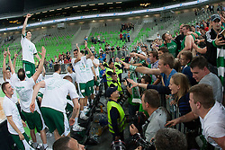 Team Krka and fans after basketball match between KK Union Olimpija and KK Krka in 4nd Final match of Telemach Slovenian Champion League 2011/12, on May 24, 2012 in Arena Stozice, Ljubljana, Slovenia. Krka defeated Union Olimpija 65-55. (Photo by Grega Valancic / Sportida.com)