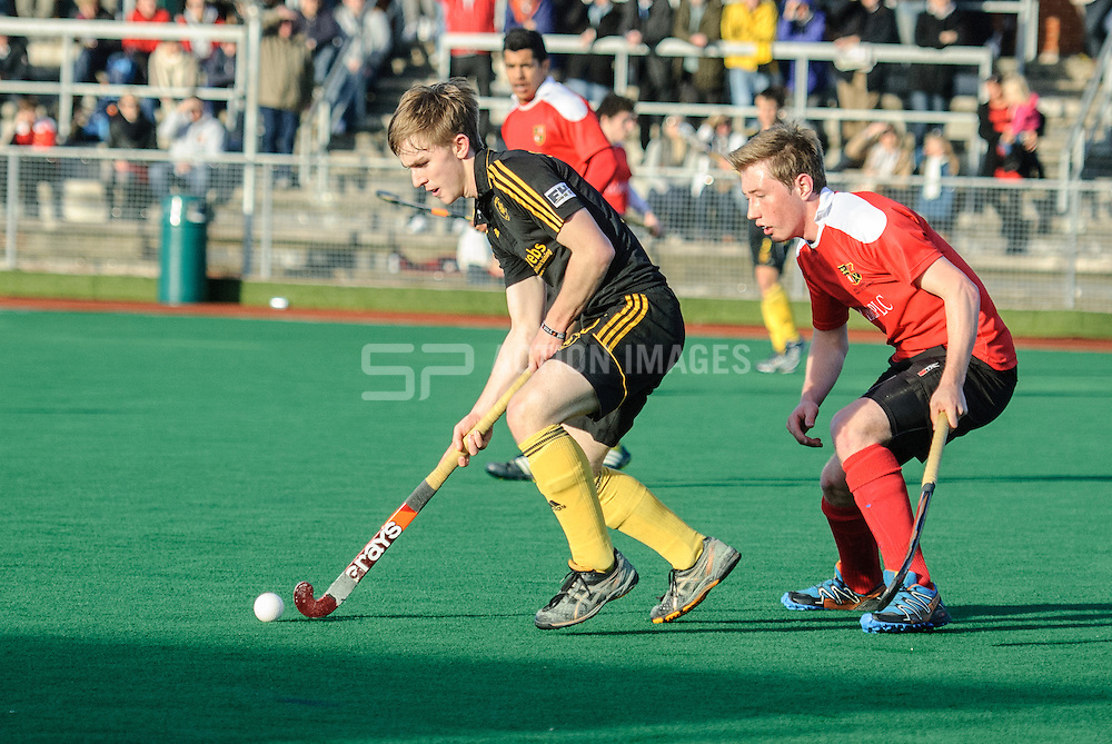 Action from Holcombe against Beeston in the England Hockey Men's Cup