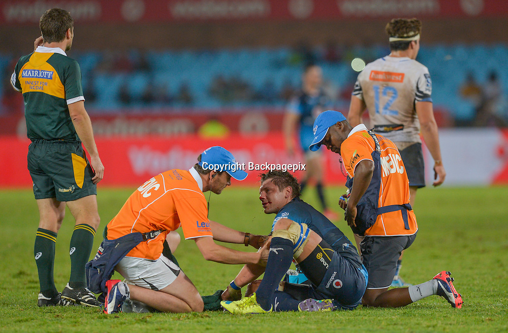 The Bulls doctor checking out a bleeding Lappies Labuschagn&eacute; of the Bulls during the Super Rugby match between the Vodacom Bulls and the Force at the Loftus Versfeld on  21 March 2015<br /> &copy;BackpagePix