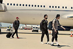 MADRID, SPAIN - Friday, May 31, 2019: Liverpool's Mohamed Salah (L) and Trent Alexander-Arnold arrives at Adolfo Suarez Madrid-Barajas Airport ahead of the UEFA Champions League Final match between Tottenham Hotspur FC and Liverpool FC at the Estadio Metropolitano. (Pic by Handout/UEFA)