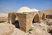 Shaded resting and observation point, overlooking the Mar Saba Monastery. Photographed Kidron valley, Judaean desert, West Bank Palestine Israel in March