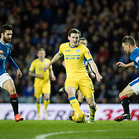 Rangers v St Johnstone…01.03.17     SPFL    Ibrox<br />Blair Alston gets between Clint Hill and Jon Toral<br />Picture by Graeme Hart.<br />Copyright Perthshire Picture Agency<br />Tel: 01738 623350  Mobile: 07990 594431