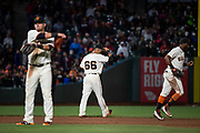 San Francisco Giants left fielder Gorkys Hernandez (66) walks to left field after an at bat against the Pittsburgh Pirates at AT&T Park in San Francisco, California, on July 25, 2017. (Stan Olszewski/Special to S.F. Examiner)