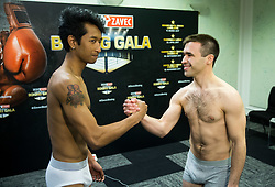 Bien Jerome Aquino of Italy and Igor Pertot of Slovenia pose during Official weighting ceremony one day before Dejan Zavec Boxing Gala event in Ljubljana, on March 10, 2017 in Grand Hotel Union, Ljubljana, Slovenia. Photo by Vid Ponikvar / Sportida
