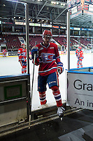 KELOWNA, CANADA - MARCH 7: Evan Fiala #7 of Spokane Chiefs exits the ice against the Kelowna Rockets on March 7, 2015 at Prospera Place in Kelowna, British Columbia, Canada.  (Photo by Marissa Baecker/Shoot the Breeze)  *** Local Caption *** Evan Fiala;