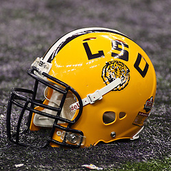 Jan 9, 2012; New Orleans, LA, USA; A detailed view of a LSU Tigers helmet on on the field during the 2012 BCS National Championship game against the Alabama Crimson Tide at the Mercedes-Benz Superdome.  Mandatory Credit: Derick E. Hingle-US PRESSWIRE