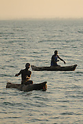 Fishers using handlines beyond National Park waters off the Maleri Islands, Lake Malawi, Malawi.