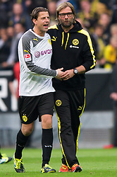 19.10.2013, Signal Iduna Park, Dortmund, GER, 1. FBL, GER, 1. FBL, Borussia Dortmund vs Hannover 96, 9. Runde, im Bild Roman Weidenfeller (#1 Dortmund), Jürgen / Juergen Klopp (Trainer Dortmund) nach dem Sieg // during the German Bundesliga 9th round match between Borussia Dortmund and Hannover 96 Signal Iduna Park in Dortmund, Germany on 2013/10/19. EXPA Pictures © 2013, PhotoCredit: EXPA/ Eibner-Pressefoto/ Kurth<br /> <br /> *****ATTENTION - OUT of GER*****