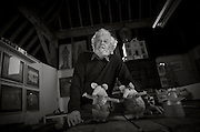 Peter Firmin the originator of the designs for the Clangers and Bagpuss in his studio, 27th January 2014.