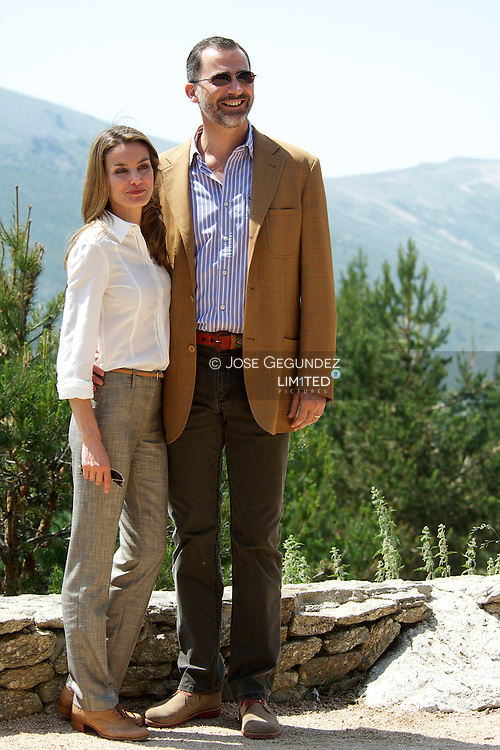 Prince Felipe of Spain and Princess Letizia of Spain visit the National Park of the Sierra de Guadarrama at Rascafria on 10 July, 2013 in Madrid, Spain